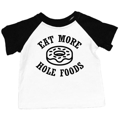 Eat More Hole Foods Shirt Donut Boy Black Raglan
