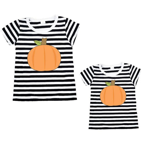 Fall Pumpkin Black Stripe Shirt Orange Mommy And Me