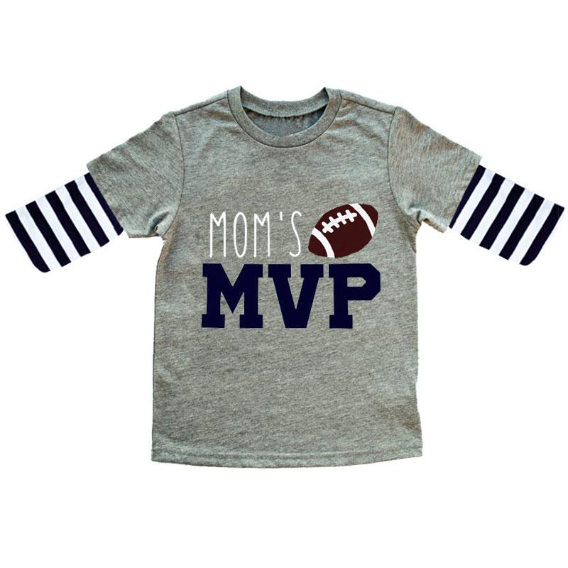 Football Moms Mvp Boys Gray Navy Stripe Shirt