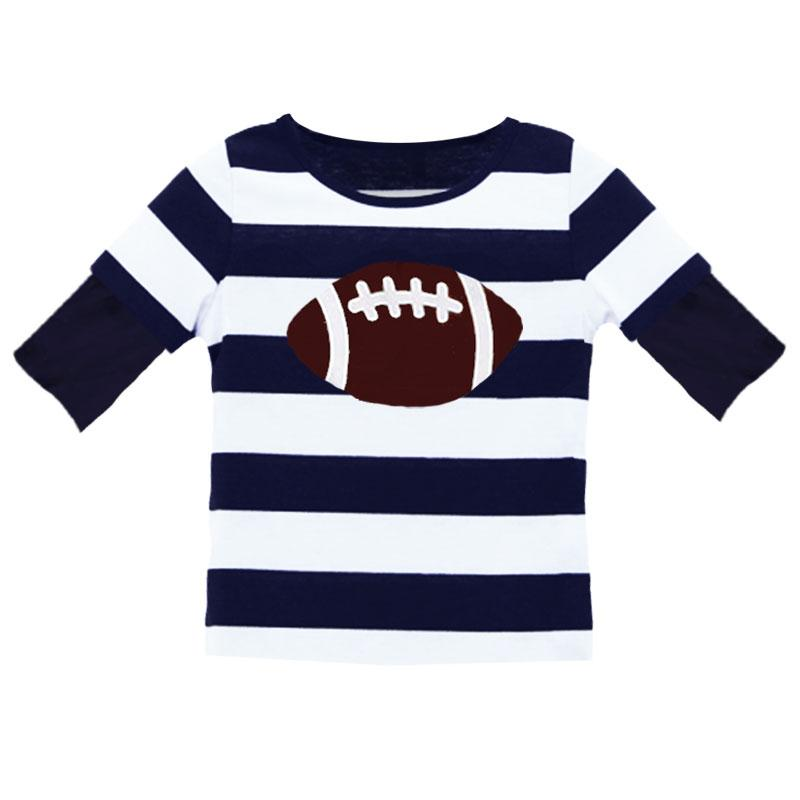 Football Stripe Boy Shirt Navy