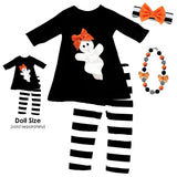 Ghost Black Outfit Doll And Me Stripe Orange Bow Top And Pants