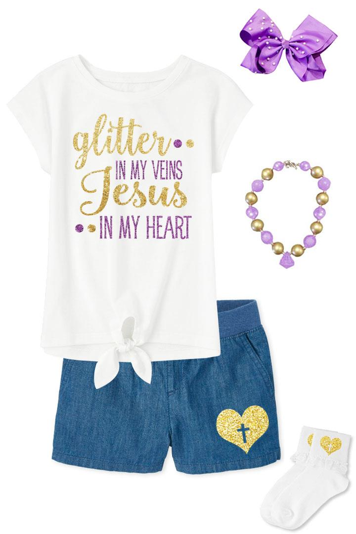 Glitter In Veins Jesus In Heart Outfit Purple Gold Tie Top And Shorts