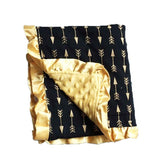 Gold Black Arrow Minky Blanket