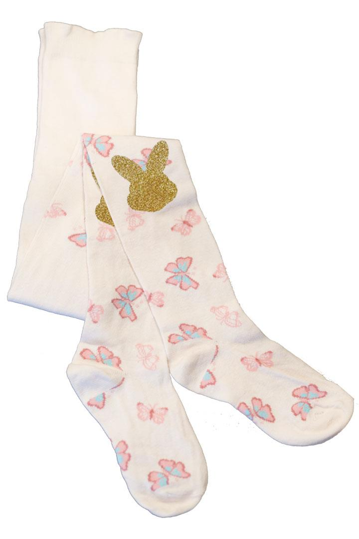 Gold Bunny Butterfly Toddler Tights