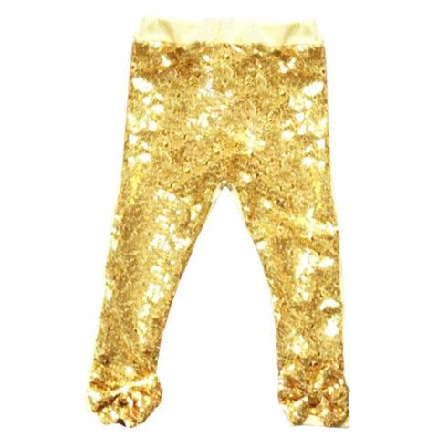 Gold Sequin Pants Sparkle Bow