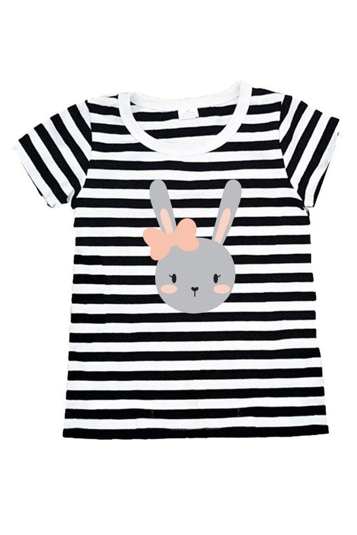 Gray Bunny Bow Shirt Black Stripe
