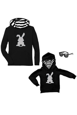 Gray Bunny Cottontail Hoodie Black Stripe Mommy Me