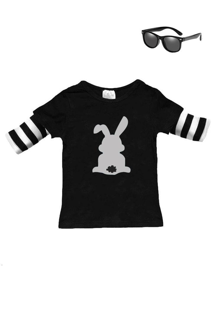 Gray Bunny Cottontail Shirt Black Stripe Boy