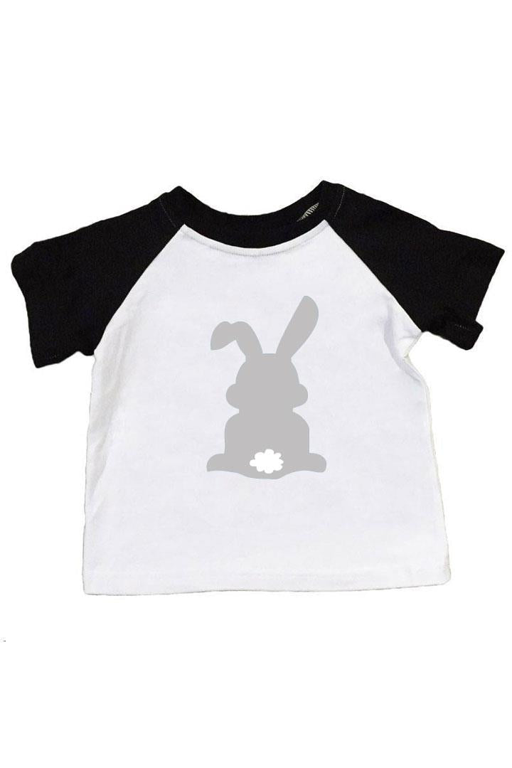 Gray Bunny Shirt Black Raglan Boy