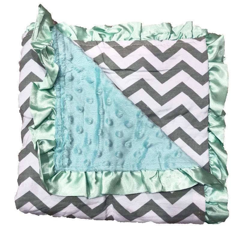 Gray Chevron Mint Blue Minky Blanket