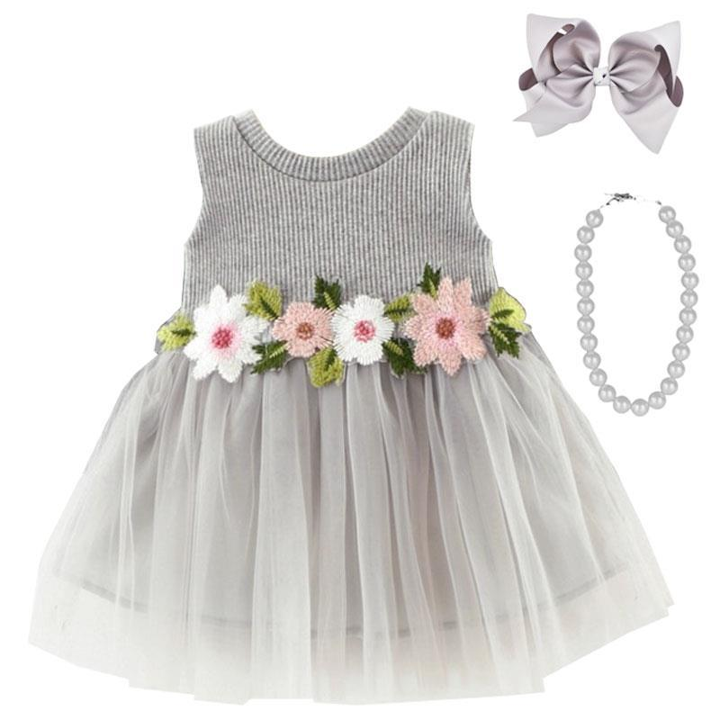 Gray Embroidered Floral Tutu Tank Dress