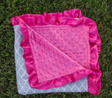 Gray Moroccan Hot Pink Minky Blanket