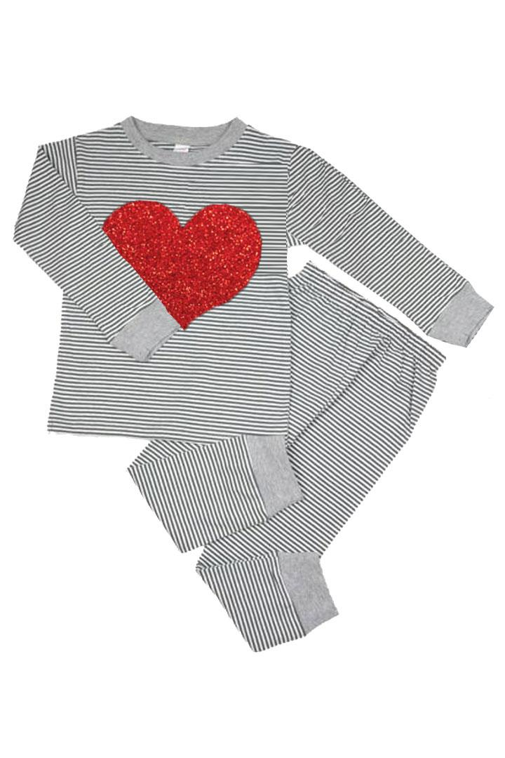 Gray Stripe Red Heart Pajamas