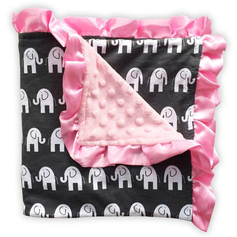 Gray White Elephant Pink Minky Blanket