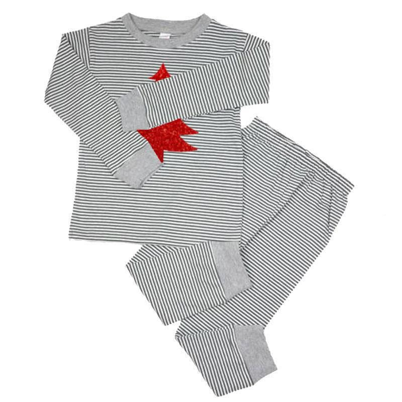 Gray Stripe Red Sparkle Christmas Tree Pajamas