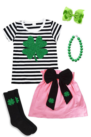 Green Clover Outfit Sparkle Stripe Pink Top And Skirt