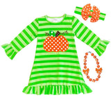 Green Stripe Pumpkin Dress