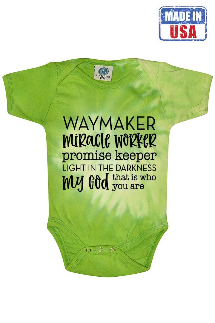 Green Tie Dye Onesie Way Maker