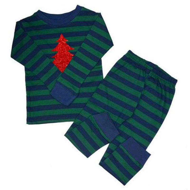 Green Navy Stripe Red Sparkle Christmas Tree Pajamas
