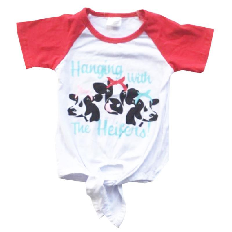 Hanging With The Heifers Shirt Tie Red Raglan