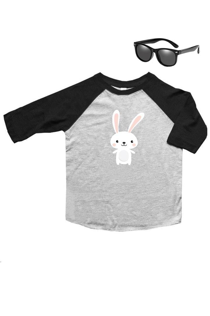 Happy Bunny Shirt Gray Raglan Boy