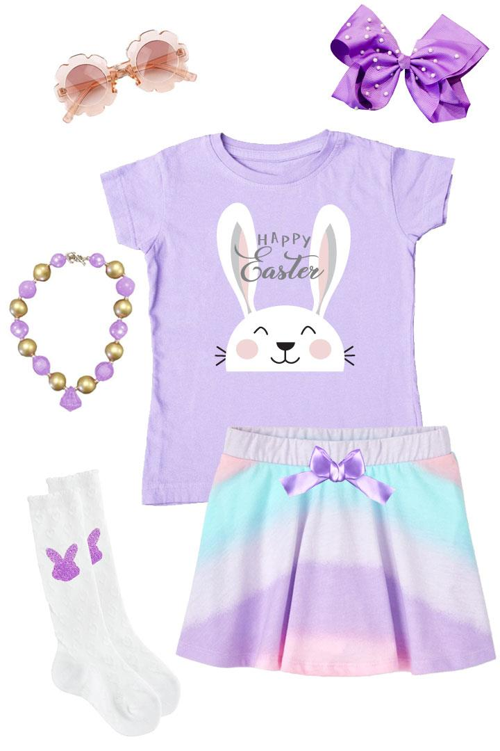 Happy Easter Outfit Bunny Pastel Ombre Top And Skirt