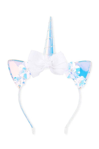 Holographic Unicorn Headband White Bow
