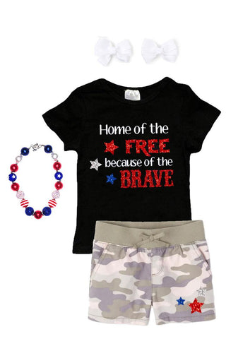Home Of Free Brave Camo Outfit Sparkle Black Top And Shorts