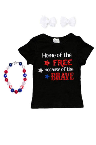 Home Of Free Brave Shirt Sparkle Black