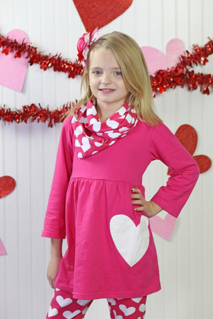Hot Pink Heart Top Pants And Scarf