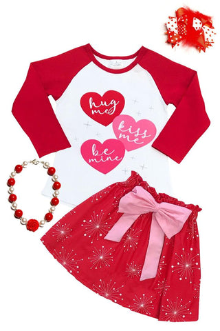 Hug Me Kiss Me Be Mine Outfit Red Heart Top And Skirt