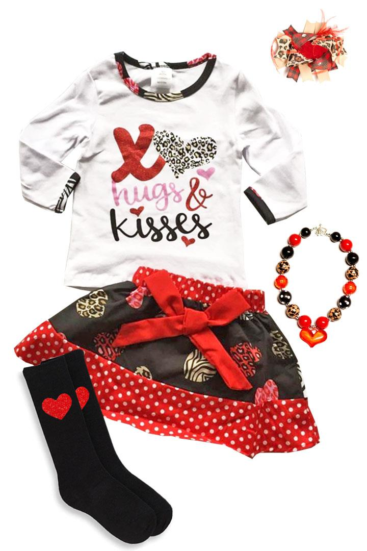 Hugs And Kisses Leopard Outfit Red Polka Dot Top And Skirt