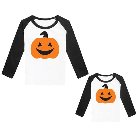 Jackolantern Shirt Black Raglan Mommy And Me