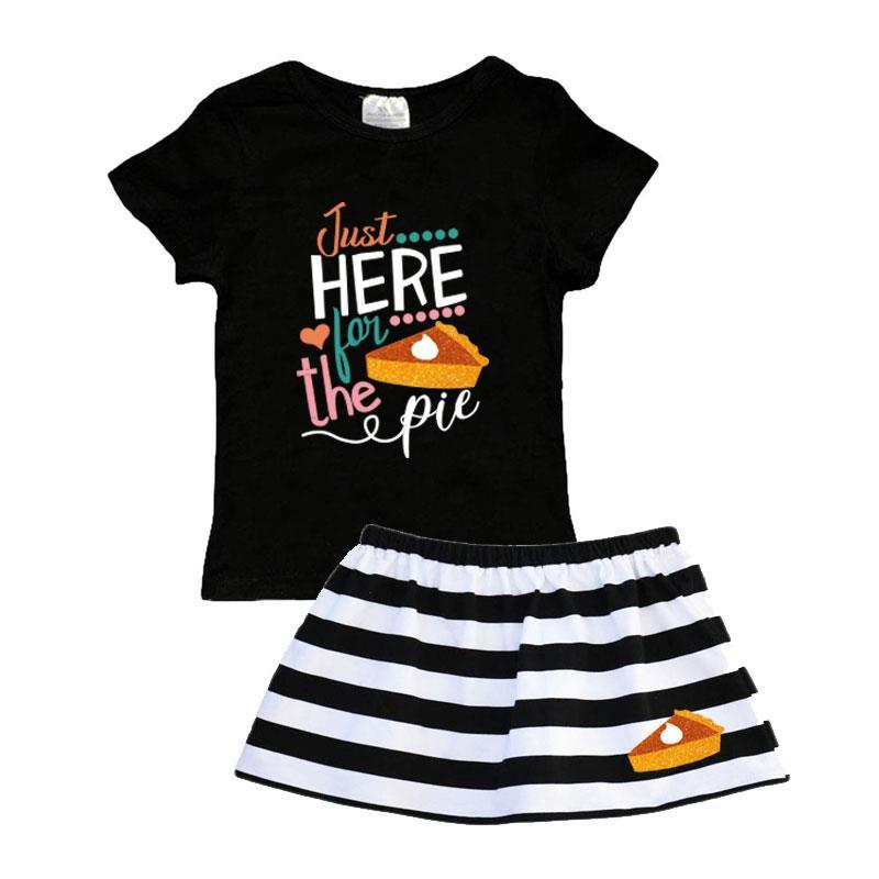 Just Here For The Pie Outfit Black Stripe Top And Skirt