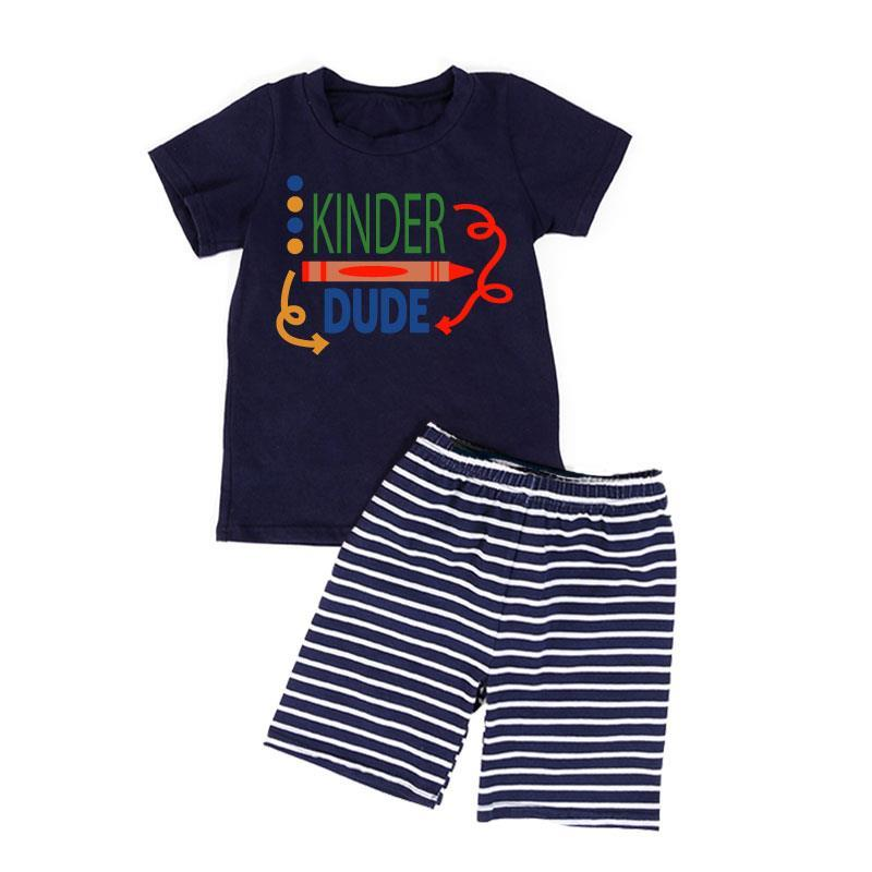 Kinder Dude Shirt Crayon Navy Stripe