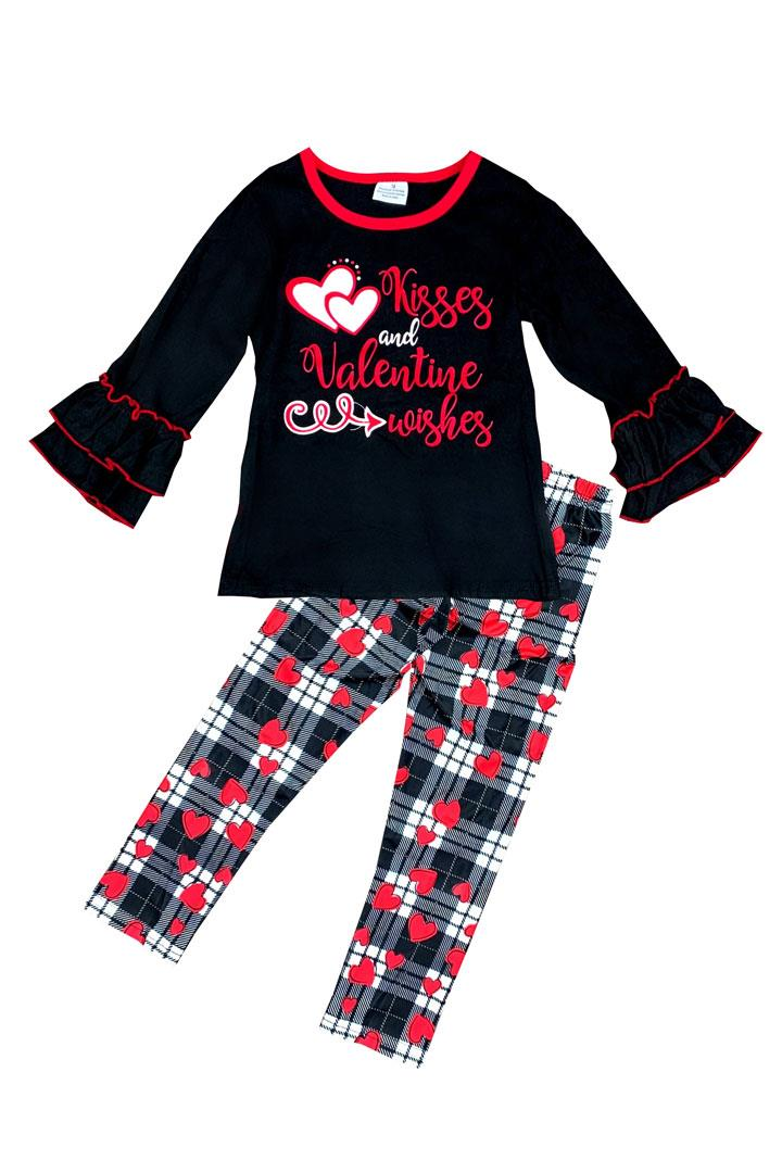 Kisses Valentine Wishes Outfit Plaid Hearts Top And Pants