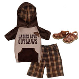 Ladies Love Outlaws Brown Plaid Hoodie And Shorts