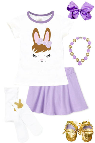 Lavender Bunny Hair Outfit Purple Top And Skirt
