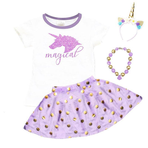 Lavender Magical Unicorn Outfit Polka Dot Top And Skirt