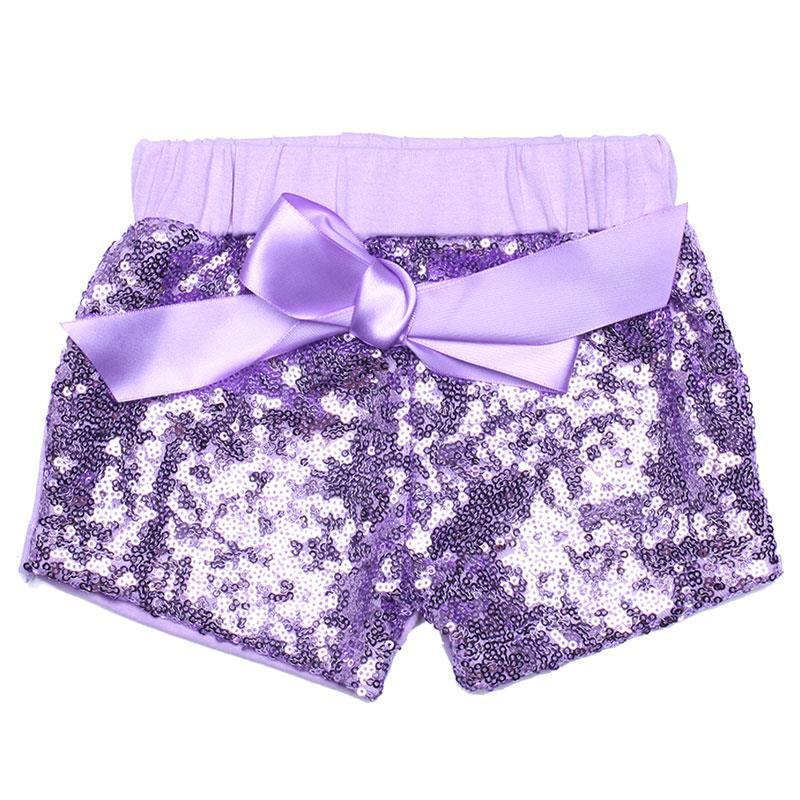 Lavender Sequin Shorts Bow Purple