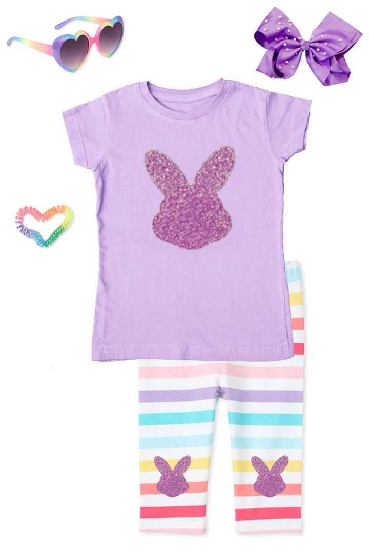 Lavender Sparkle Bunny Outfit Rainbow Stripe Top And Capri