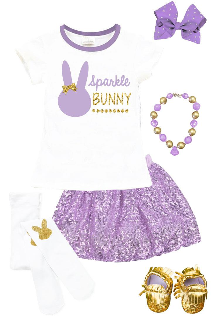 Lavender Sparkle Bunny Shirt Purple Gold Bow
