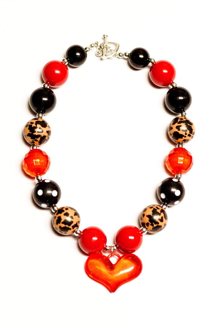 Leopard Cheetah Heart Necklace Chunky Gumball