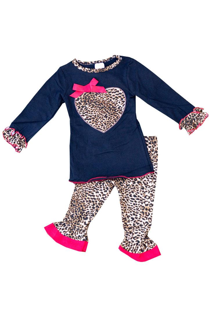 Leopard Heart Outfit Red Bow Ruffle Top And Pants
