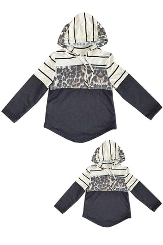 Leopard Hoodie Black Cream Stripe Mommy And Me