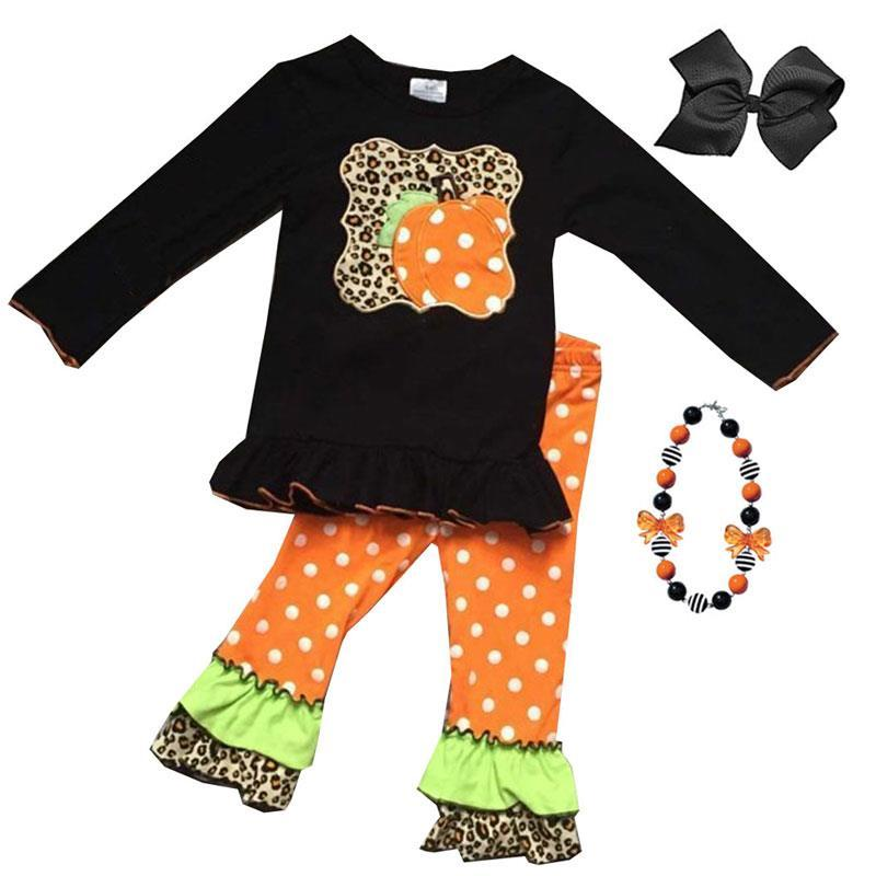 Leopard Pumpkin Outfit Black Ruffle Top And Pants