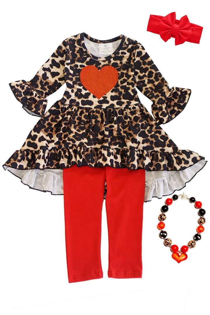 Leopard Red Heart Outfit Ruffle Top And Pants