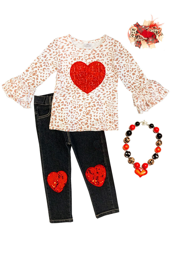 Leopard Sparkle Heart Outfit Top And Jeans