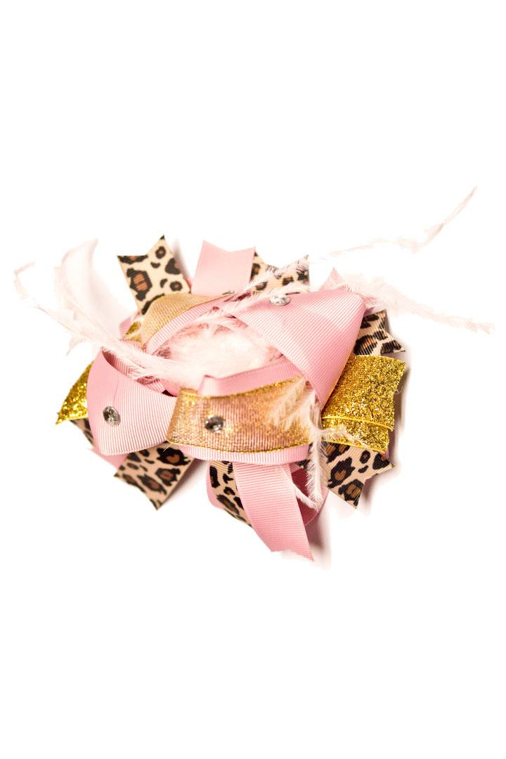 Leopard Pink Gold Hair Bow