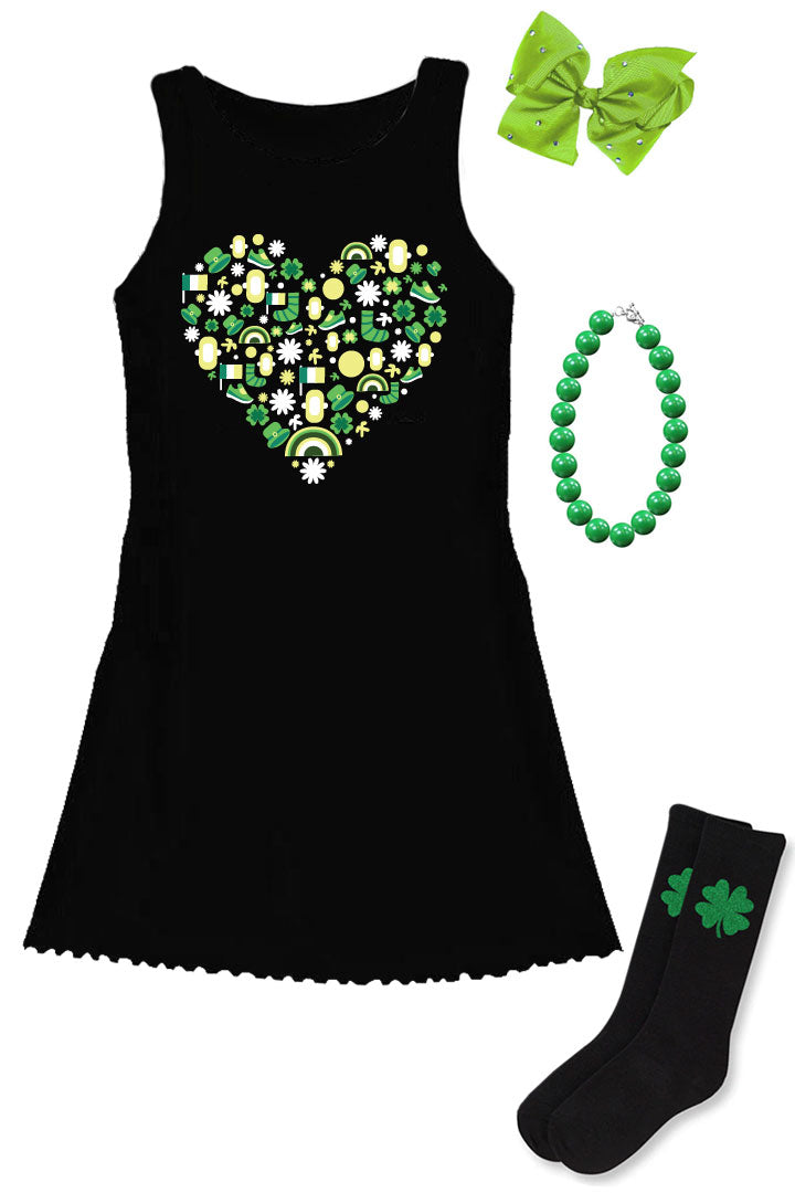 Leprechaun Heart Tank Dress Black
